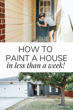 Learn how to paint your house exterior with a sprayer - it's an easier project than you think! How to paint brick and siding Learn how to paint your house exterior with a sprayer - it's an easier project than you think! How to paint brick and siding House Siding, House Paint Exterior, Exterior Paint Colors, Exterior House Colors, Paint Colors For Home, Diy Exterior Siding, Diy Exterior House Painting, Painting Vinyl Siding, Brick House Colors