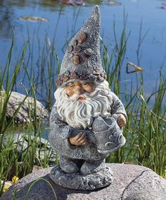 Realistic Faux Stone Finish Long Beard Gnome Garden Statue Planter