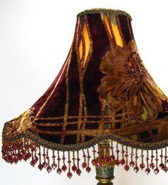 Lamp Shade  Beaded Handmade Silk Cut Velvet for by JudisLamps, $195.00
