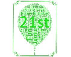 Personalized 21st Birthday Gift Balloon 21st Birthday Idea for 21st Birthday Word Art - 8 x 10 Print Twenty One Years Old Birthday Gift Idea