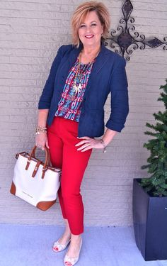 50 Is Not Old | Falls Off A Truck | Red Pants | Navy Jacket | Spring outfit | Fashion over 40 for the everyday woman