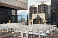 Our outdoor terrace is the perfect backdrop for your wedding ceremony. www.wyndhamgrandchicagoriverfront.com