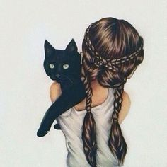 Imagen de cat, girl, and hair