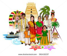 Vector design of Tamil family showing culture of Tamil Nadu, India