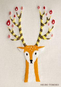 #Crafts #刺しゅう #刺繍 #embroidery #handmade #ハンドメイド #illustration #イラストレーション #鹿 #Deer #KuboTomoko