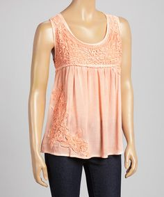 Another great find on #zulily! Peach Lace Empire-Waist Sleeveless Top by Dolce Bianca #zulilyfinds