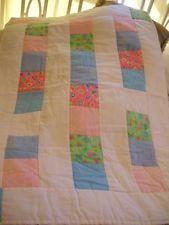 NEW! HANDMADE MULTI-PURPOSE UNISEX FLANNEL BABY QUILT, Pink/Blue/Green/Blue