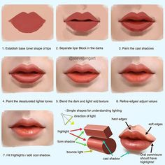 As promised, here is my process on how to paint lips. This is painted in Photoshop CS5 using brushes with pen pressure on. I'm using my default light setup again, which is three-quarter 45 degree frontal and side bounce light. 1. I choose a neutral value skin tone to set it as my base and block in the rough shape of the lips. MY COLORS WILL DE-SATURATE AS IT GOES LIGHTER AND SATURATED AS IT GETS DARKER. 2. I separate the upper and lower body of the lips and block in the dark tones around…