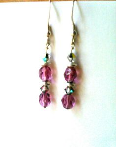 Amethyst Beaded Earrings with Aurora by EnchantedCrystalDsgn Crystal Earrings, Beaded Earrings, Drop Earrings, Crystal Design, Crystal Healing, Enchanted, Aurora, Gifts For Her, Amethyst