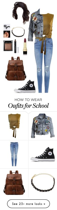 """Back to school"" by goddessofbacon on Polyvore featuring Frame, Moschino, Converse, Alice + Olivia, Ettika, Dolce&Gabbana, Givenchy and Bare Escentuals"