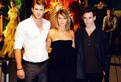 Liam Hemsworth, Jennifer Lawrence and Sam Claflin at Cannes. Looooove her new do.