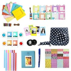 Fan Le 10 Accessories For Fujifilm Instax Mini 8 Instant Cameras( Album/Selfie Lens/Colored Filters/Wall Hang Frames/Film Frames/Border Stickers/Corner Stickers/Pen,Black Case With White Polka Dots)