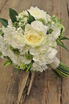 Green x White Bridal bouquet. Hydrangea, roses, Vibernum, Lisianthus, Skimmia, Chrysanthemum, Berzillia, Stock