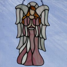 Stained Glass Angel - 11 in tall - Faith - Pink 2 | StainedGlassElegance - Glass on ArtFire