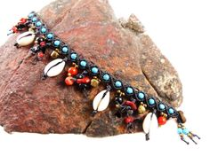 Anklet Cowry Shells Macrame Thai Turquoise Coral by ValaddaJewelry