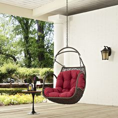 Arbor Red Fabric PE Rattan Wood Steel Outdoor Patio Swing Chair Wicker Porch Swing, Outdoor Patio Swing, Hanging Swing Chair, Wood Swing, Hammock Swing Chair, Swinging Chair, Swing Chairs, High Chairs, Porch Swings
