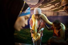 Acre, Israel: Children have their picture taken with a pet snake at an amusement parkPhotograph: Uriel Sinai/Getty Image