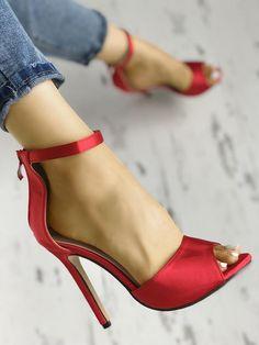 Shop Sexy Open Toe Strap Anklet Heeled Sandals right now, get great deals at joyshoetique Stilettos, Stiletto Heels, Pumps, Hot High Heels, Womens High Heels, Sexy Heels, Cute Sandals, Heeled Sandals, Shoes Sandals