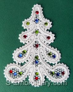 A set of 7 Battenberg lace Christmas ornaments. You receive a total of 28 machine embroidery files in free standing lace technique. Snowman Christmas Ornaments, Ribbon On Christmas Tree, Christmas Tree Design, Christmas Angels, Christmas Crafts, Crochet Lace Edging, Point Lace, Christmas Embroidery, Lace Making