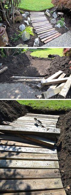 Pallet Wood Garden Walkway | DIY Garden Projects Ideas Backyards | DIY Garden…