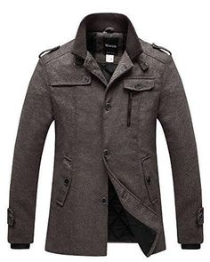 232906c66 Wantdo Men s Winter Pea Coat Single Breasted Thicken Warm Military Peacoat  Jacket