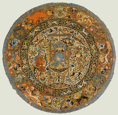 Circular piece of silk with Mongol images, Iran or Iraq, ca 1305. Silk, cotton and gold.