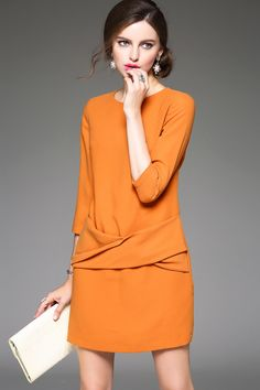 Orange  Round Neck 3/4 Sleeves  Dress
