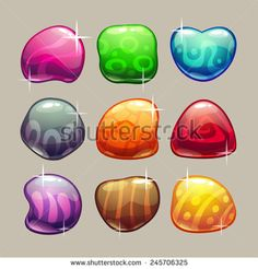 Set of bright colorful glossy stones with sparkles