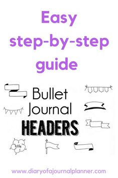 Bullet journal headers easy step by step tutorial for bujo banners, flags and headers Bullet Journal Headers And Banners, Bullet Journal Banner, Bullet Journal Hacks, Bullet Journal Layout, Bullet Journal Inspiration, Bullet Journals, Art Journals, Bullet Journal For Beginners, Bullet Journal How To Start A