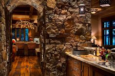 """""""View this Great Rustic Bar with Natural stone wall & Arched doorway by Locati Architects. Discover & browse thousands of other home design ideas on Zillow Digs. Rustic Contemporary, Contemporary Bedroom, Contemporary Office, Contemporary Building, Contemporary Apartment, Contemporary Wallpaper, Contemporary Chandelier, Contemporary Garden, Contemporary Architecture"""