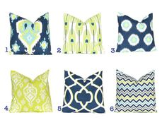 Euro Sham Pillows, Decorative Throw Pillow Cover Home Decor Navy Blue and Lime Green Ikat Cushion Cover Toss Pillow One Blue Feathers on Etsy, $23.00