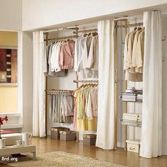 10 Stunning Open Closet Ideas For Sophisticated Residence Closet Curtains, Closet Rod, Closet Bedroom, Closet Storage, Curtain Hangers, Portable Wardrobe, Wardrobe Room, Build A Closet, Arquitetura