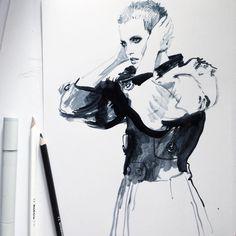 """""""#fashion #fastsketch #fashionkitchen #fashionillustrator #fashionillustration #fashionillustrationoftheday #ink #illustrator #illustration #instafashion…"""""""