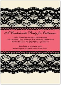 Signature White Bachelorette Party Invitations Lacy Edge...Classy and sassy!!