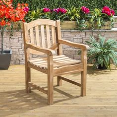 Strong and sturdy, with classic design and warm seasonal tones, the Teak Lion Armchair makes a feature of any garden seating area