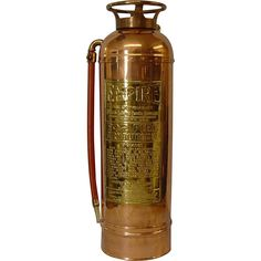 "Copper American LaFrance Fire Extinguisher Copper Empire Fire Extinguisher manufactured by American LaFrance Foamite Corporation, Elmira NY. Extinguisher has been cleaned and polished. It is the 2½ gallon size measuring 24"" tall, by 8½"" across at the hose, 7"" across the base."