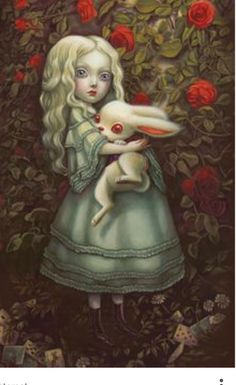 Alice and white rabbit illustration