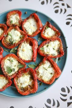 Roasted Red Peppers with Pesto and Goat Cheese - these make a great summer appetizer or side dish! Recipe via http://aggieskitchen.com