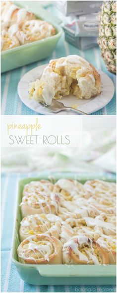 Sweet, Tender Yeast Rolls Swirled with a Luscious Pineapple Cream Cheese Filling, topped with a Tangy Cream Cheese Drizzle. This Tropical Twist on the Classic Cinnamon Roll is sure to be a hit at your next Brunch! #OnlyPhiladelphia #MyCreamCheese #ad @LoveMyPhilly ~ http://bakingamoment.com