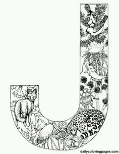 Animal alphabet letters  http://dailycoloringpages.com/alphabet-letters-to-print/challenging-animal-alphabet-letters-to-print/