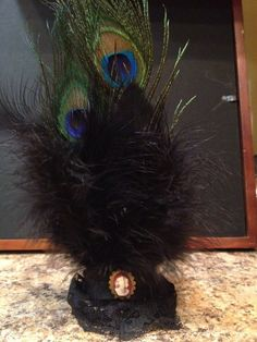 Handmade Peacock and Black Feather Mini Top Hat by ArtemisinLove, $17.99