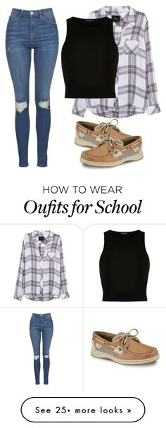"""Thursday school day"" by melw44 on Polyvore featuring Rails, River Island, Topshop and Sperry"