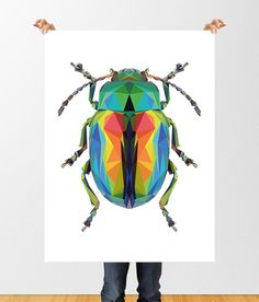 Low Poly Beetle Print, Downloadable File, Printable Geometric Beetle, Insect Art, Iridescent Beetle, Entomology Wall Decor, Beetle Bug Print by tothewoodside on Etsy