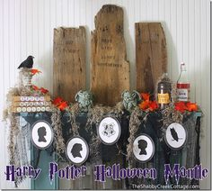 Harry Potter Halloween Mantle via www.theshabbycreekcottage.com