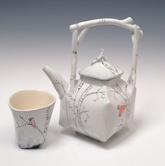 White Birch Tea Pot and Tea Tumbler  with Red Bird