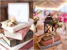 Decoração com Livros Casamento Rústico   Book Decor for Wedding