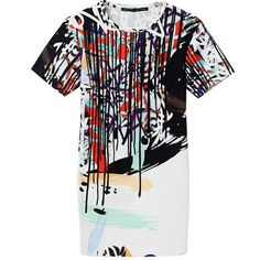 Europe style personalized abstract painting prints round collar dresses BD-X3778