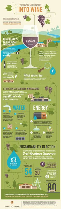 Turning Water and Energy Into Wine Infographic - sustainability practices in the wine industry.