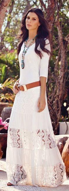 Street style | White boho dress, brown belt, necklace