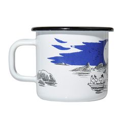 Beautiful archipelago enamel mug in white, with black and blue details, features the Moomin family on the sea. Muurla combines design with durability in this retro Moomin enamel mug.